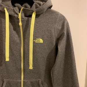 Women's Gray North Face Fleece Zip Hoodie - S